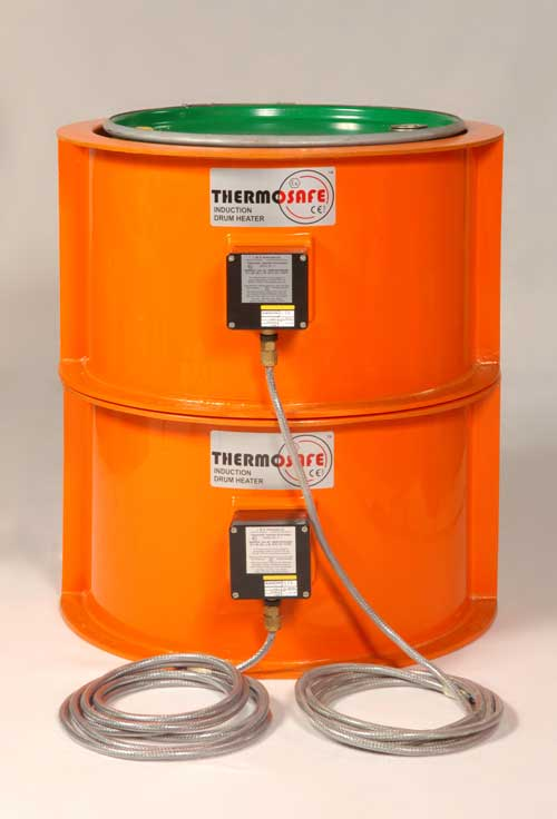 Dual Type B Thermosafe Induction Heaters on steel drum